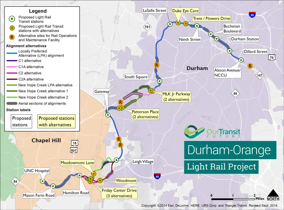 durham-orange light rail project