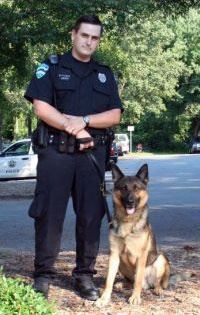 Officer Gabe Shinn and Koda