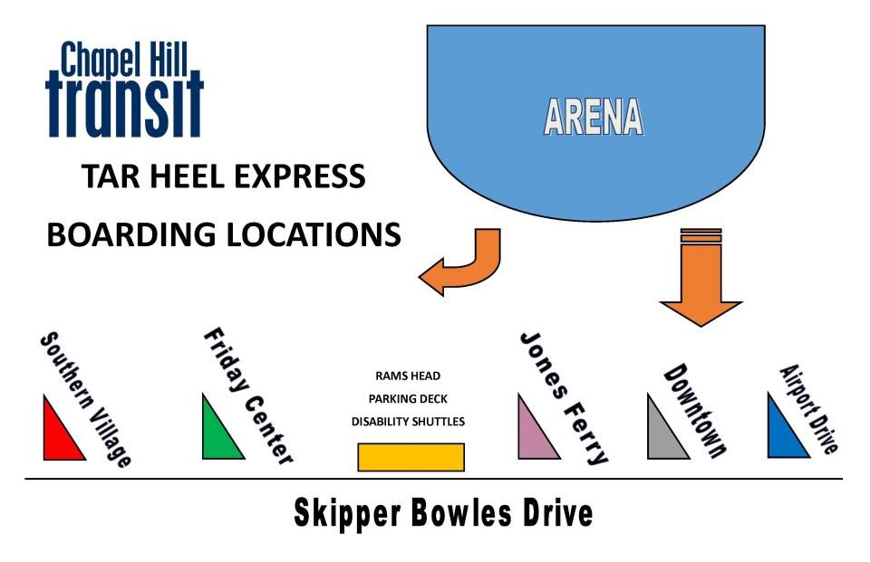 Tarheel Express Basketball Boarding Locations
