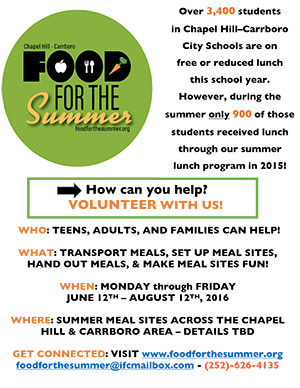 Food for the summer volunteer advertisement-body