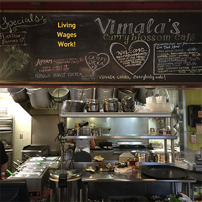 LIVING WAGE AT THE CURRYBLOSSOM CAFE