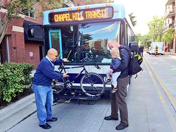 TRANSIT OPERATOR AKALEMA PHERRIBO DEMONSTRATES BIKE RACK