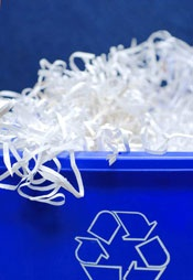 Recycling shredded paper