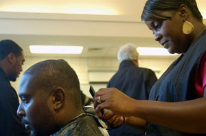 PHOTO Volunteer Cutting Hair