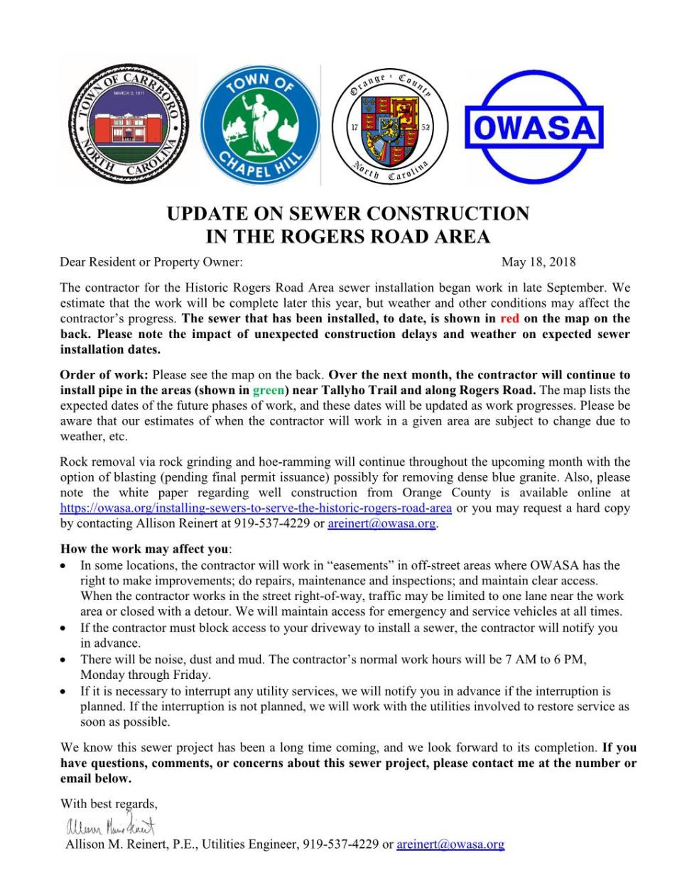 Rogers Road sewer construction update May 2018 Page 001