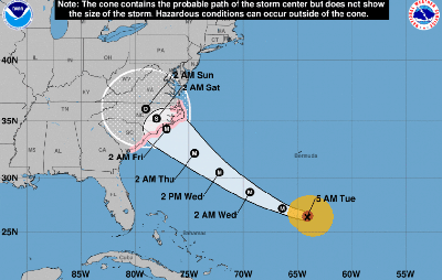 HURRICANE FLORENCE PREDICTED PATH