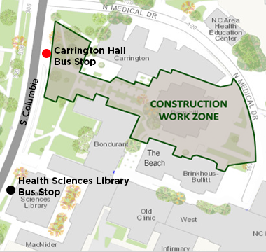 Carrington Hall bus stop closed