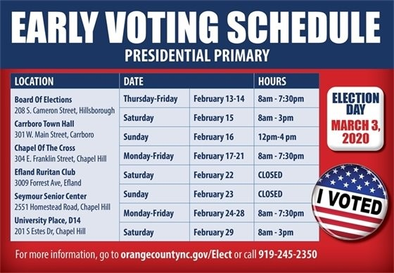 ORANGE COUNTY EARLY VOTING SCHEDULE SPRING 2020