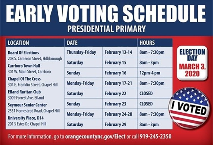 ORANGE COUNTY EARLY VOTING SCHEDULE
