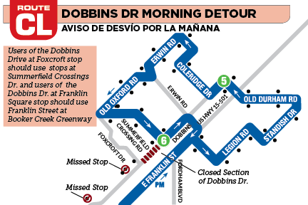 Graphic for CL detour in the morning for Dobbins Dr, Jan 31
