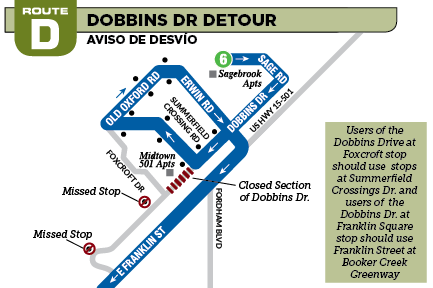 Graphic for D detour for Dobbins Dr, Jan 31