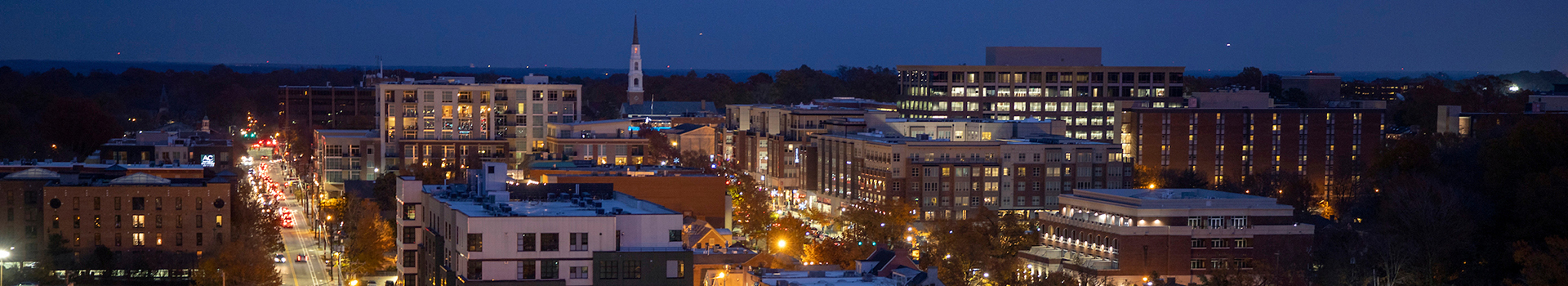 DOWNTOWN CHAPEL HILL AERIAL VIEW AT NIGHT