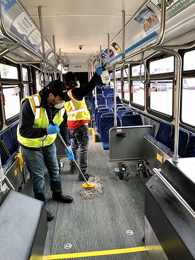 Chapel Hill Transit cleans inside of bus