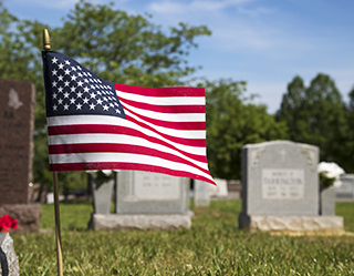 FLAG IN CEMETERY