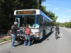 Loading bikes on a Chapel Hill Transit bus