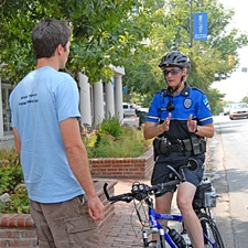 Chapel Hill police officer talking to resident