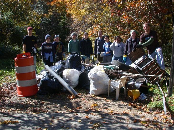 Volunteers with trash